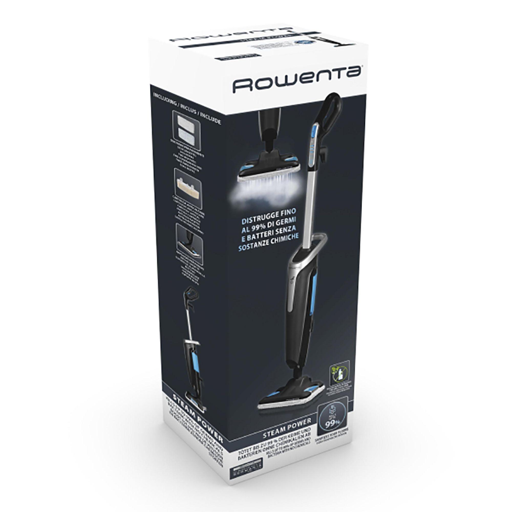 Mop cu abur ROWENTA Steam Power RY6555WH, 1200W, 0.6L, filtru anticalcar, 3 setari de reglaj al aburului, Negru/Albastru