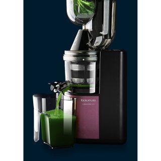 Storcator profesional de fructe si legume Taurus Liquajuice Pro. 200 W, 43 RPM, Recipient suc 1 l, 1 Viteza, Functie Reverse, Tub de alimentare dublu 75/35 mm.Rosu/Negru